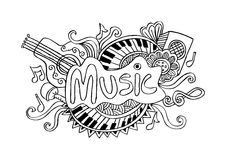 Muziek Schetsmatige achtergrond Vector Illustratie