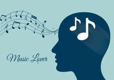 Muziek van hersenen, muzieknota's, muziekminnaar, muziekvector Stock Afbeelding
