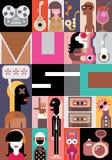 Muziek vectorillustratie Stock Afbeeldingen