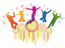 Muziekachtergrond met dansende mensen. Stock Foto