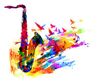 Muziekachtergrond met saxofoon Royalty-vrije Stock Afbeelding