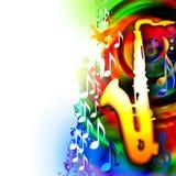 Muziekachtergrond met saxofoon en muzieknoten Stock Foto's