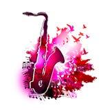 Muziekachtergrond met saxofoon, muzieknoten en het vliegen vogels het Digitale waterverf schilderen Royalty-vrije Stock Afbeelding