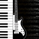 Muziekachtergrond met toetsenbord, gitaar en staafnota's Stock Afbeeldingen
