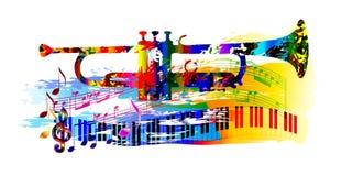 Muziekachtergrond met trompet Royalty-vrije Stock Foto's