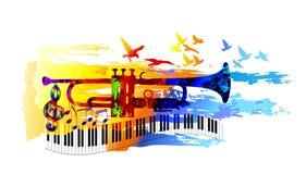 Muziekachtergrond met trompet Royalty-vrije Stock Afbeelding