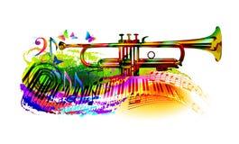 Muziekachtergrond met trompet Royalty-vrije Stock Foto