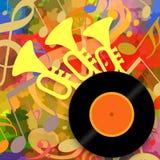 Muziekachtergrond met trompetten en vinylschijf stock illustratie