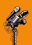 Muziekaffiche met microfoons Stock Foto's