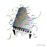 Muziekaffiche - Piano met confettien/Muziekachtergrond Royalty-vrije Stock Afbeeldingen