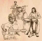 Muziekband - een hand getrokken vector vector illustratie
