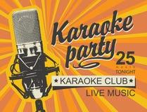 Muziekbanner voor karaokepartij met microfoon stock illustratie