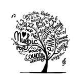 Muziekboom, schets voor uw ontwerp Royalty-vrije Stock Foto