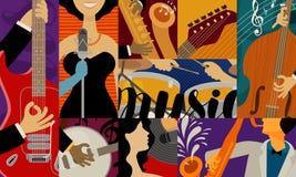 Muziekconcept, achtergrond Jazzfestival, de vectorillustratie van overlegprestaties stock illustratie