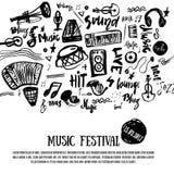 Muziekelementen De muzikale achtergrond van Grunge Vector illustratie De zwarte neemt nota van symbolen voor muziekfestival backg Stock Foto