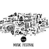 Muziekelementen De muzikale achtergrond van Grunge Vector illustratie De zwarte neemt nota van symbolen voor muziekfestival backg Stock Foto's