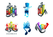 Muziekembleem, correct stadssymbool en grunge drievoudig de muziekontwerp van het land Royalty-vrije Stock Afbeelding