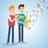 Muziekfestival levend met mensen die saxofoon en trompet spelen royalty-vrije illustratie