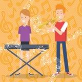 Muziekfestival levend met paar het spelen piano en trompet stock illustratie