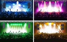 Muziekfestival of overleg het stromen stadiumscène met van de de illustratiepartij van lichtenfanzone vector menselijk de handens vector illustratie