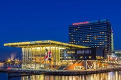 Muziekgebouw aan 'hotell Amsterdam för t IJ, Bimhuis och Mövenpick Fotografering för Bildbyråer