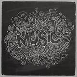 Muziekhand het van letters voorzien en krabbelselementen Royalty-vrije Stock Fotografie