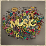 Muziekhand het van letters voorzien en krabbelselementen Royalty-vrije Stock Afbeelding