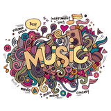 Muziekhand het van letters voorzien en krabbelselementen Stock Afbeeldingen