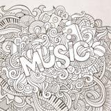 Muziekhand het van letters voorzien en krabbelselementen Stock Afbeelding