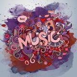 Muziekhand het van letters voorzien en krabbelselementen Royalty-vrije Stock Afbeeldingen