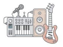 Muziekhulpmiddelen in wireframestijl: gitaar, synthesizer, microfoon, vector illustratie