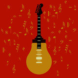 Muziekidee op rode achtergrond stock illustratie