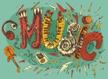 Muziekillustratie, Getrokken Hand, Retro Schets, Royalty-vrije Stock Afbeeldingen