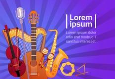 Muziekinstrumenten Geplaatst Banner met Exemplaar Ruimte Muzikaal Concept stock illustratie