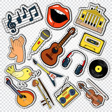 Muziekkrabbel met Gitaar, Microfoon en Hoofdtelefoons Muzikale Stickers, Flarden en Kentekens Stock Fotografie