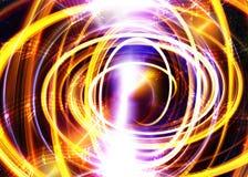 Muzieknota en Ruimte en sterren met de achtergrond van de abstrtactkleur Stock Afbeeldingen