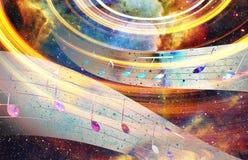 Muzieknota en Ruimte en sterren met de achtergrond van de abstrtactkleur Stock Foto