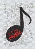 Muzieknota met bloemen Royalty-vrije Illustratie