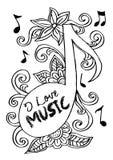 Muzieknota met bloemen Stock Illustratie