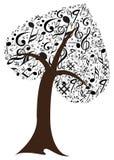Muzieknota met muziekboom vector illustratie