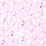 Muzieknota's en Bokeh op de Roze Achtergrond van het Waterverfpatroon royalty-vrije illustratie