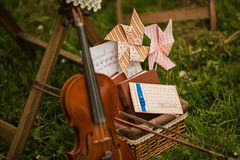Muzieknota's en viool dichte omhooggaand Royalty-vrije Stock Afbeeldingen