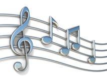 Muzieknota's over 3D personeelslijnen Stock Foto's