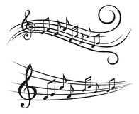 Muzieknota's over staaf Stock Foto's