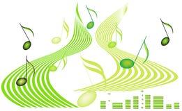 Muzieknoten en Decibel Stock Afbeeldingen