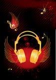 Muzieknoten en hoofdtelefoons Royalty-vrije Illustratie