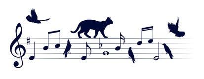 Muzieknoten met katten en vogels vector illustratie