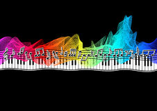 Muzieknoten op spectrumlint stock illustratie