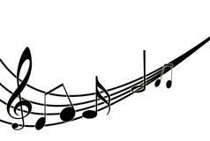 Muzieknoten op wit. Vector illustratie Stock Foto