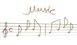 Muzieknoten van stukken gitaarkoorden dat worden gemaakt. Royalty-vrije Stock Foto's